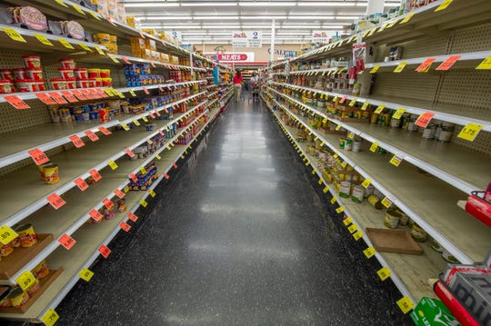 In light of the coronavirus, Mac's Fresh Market in Ridgeland is limiting quantities of certain items patrons can buy. Canned goods are not on that list, but the shelves have been hit hard by shoppers Tuesday, March 17, 2020. Restocking at Mac's occurs each morning and the store is opening an hour later at 7 a.m. to allow for sanitizing.