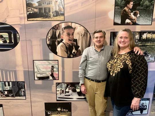 "Ed and Amy Hutchison stand in front of a display that promoted the movie, ""My Dog Skip,"" which was filmed in Canton. The display stands in a back area of Merri Pennie's Mercantile & Tea Room in Canton."
