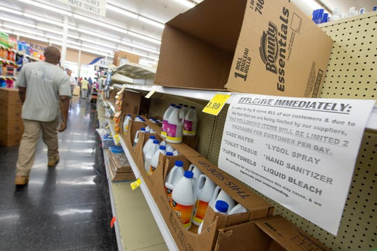 In light of the coronavirus, Mac's Fresh Market in Ridgeland is limiting quantities of certain items patrons can buy. Some generic-brand liquid bleach remains on the shelves at Mac's by mid-morning Tuesday, March 17, 2020. The tissue has already been sold out.
