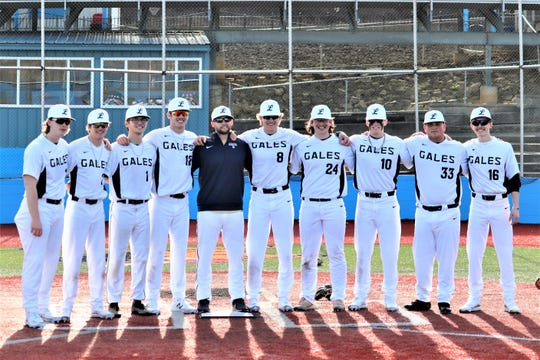 The Lancaster baseball team practices last Friday before taking a forced three-week break because of the coronavirus. The senior baseball players from left to right: Caleb Boring, Nathan Pechar, Max Hamilton, Casey Finck, Lancaster coach Corey Conn, Evan Sines, Wes Ward, Brendan Hutton, Drew Solt and Zane George.