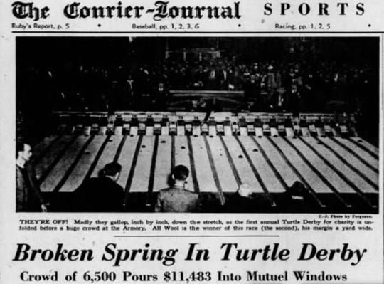 Page 5 of the Courier Journal sports section on May 6, 1945, featuring coverage of the first Kentucky Turtle Derby.
