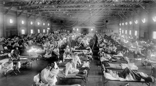 Patients crowd emergency hospital near Fort Riley Kansas