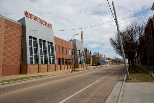 East McLemore Avenue sits empty Tuesday, March 17, 2020, in front of Stax Museum of American Soul Music in Memphis.
