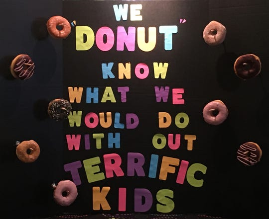 """This poster at Stonewall's expresses how Kiwanis Club feels about our """"Terrific Kids."""""""