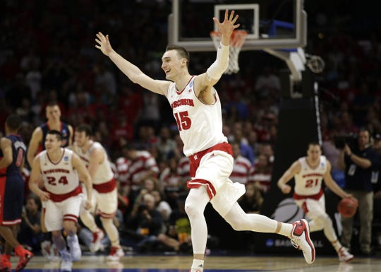 Sam Dekker celebrates after beating Arizona to reach the Final Four.
