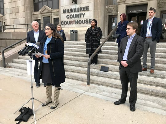 "Milwaukee Health Commissioner Jeanette Kowalik provides an update on the coronavirus spread and prevention measures while city and county leaders stand apart from each other behind her. Elected and health officials have been promoting ""social distancing"" to help stem the spread of the virus."