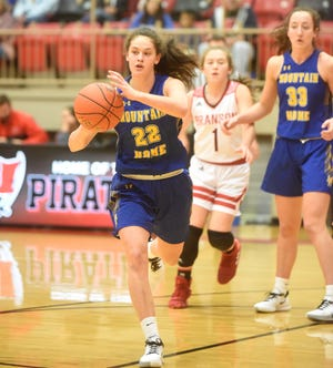 Mountain Home's Kate Gilbert (22) and Anna Grace Foreman (33) were named to the all-state basketball team Monday.