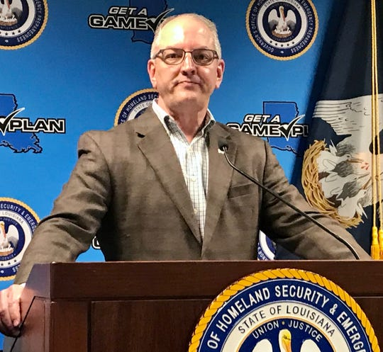 Louisiana Gov. John Bel Edwards conducts a press conference Monday, March 16, about the coronavirus crisis.