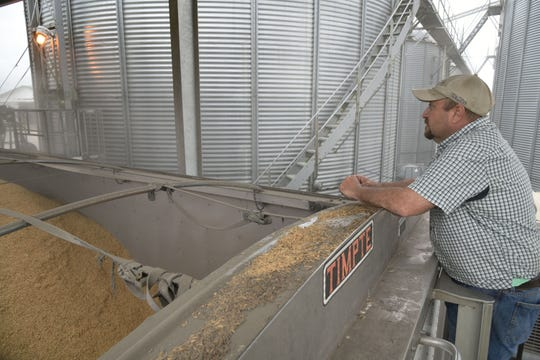 Vermilion Parish farmer Christian Richard watches rice being loaded into a trailer he will haul to a local rice mill. The rice is from last year's crop that he recently sold.