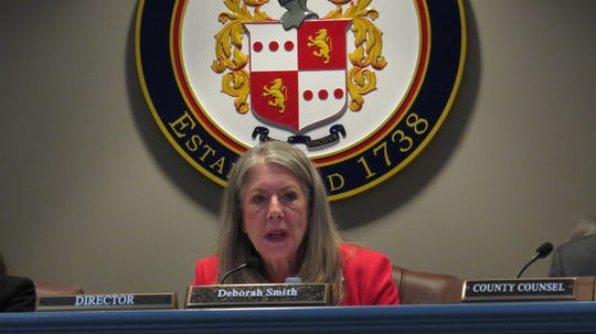 Morris County Freeholder Director Deborah Smith discusses the coronavirus issue at a freeholder meeting March 11, 2020.