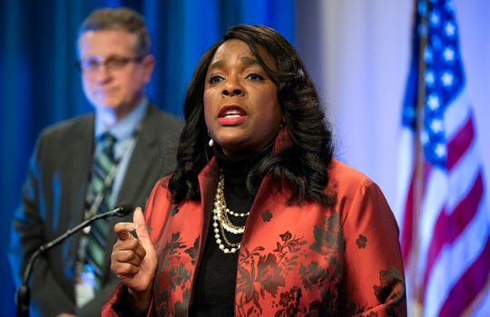 Rep. Terri Sewell discusses the coronavirus outbreak after meeting with State Health Officer Dr. Scott Harris, background, at the Alabama Department of Public Health in Montgomery, Ala., on Tuesday March 17, 2020.