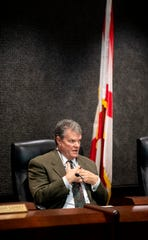 County Commissioner Doug Singleton speaks during an emergency County Commission meeting in Montgomery, Ala., on Tuesday March 17, 2020.
