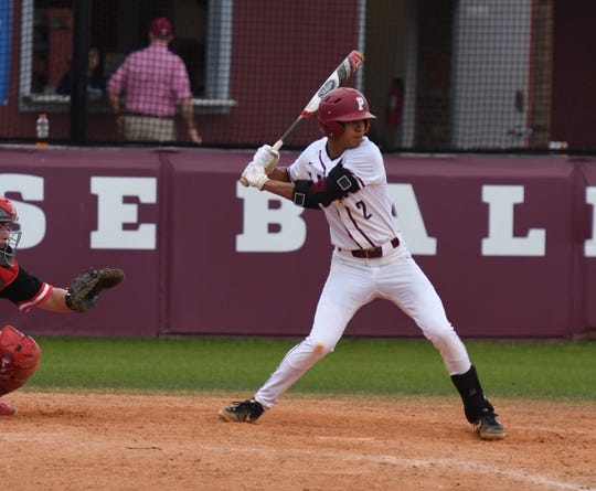 Prattville third baseman Will Smith prepares to swing at a pitch.