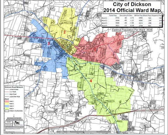 City of Dickson ward map.