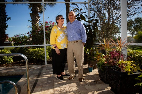 Bob and Diane Goldstein pose for a portrait, Monday, March 16, 2020, at their home in Bonita Springs.