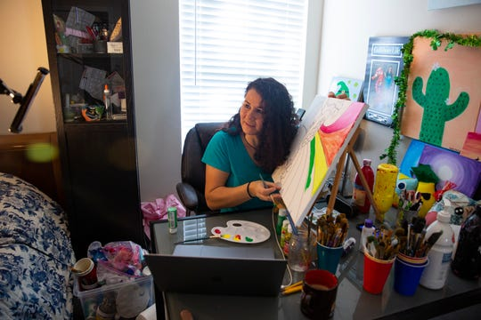 Alicia Repun hosts an online art class, Tuesday, March 17, 2020, at her home in Naples.