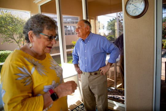 Diane and Bob Goldstein spend time in their lanai,  Monday, March 16, 2020, at their home in Bonita Springs. Diane Goldstein is a caregiver for her husband, Bob Goldstein, who has Alzheimer's disease