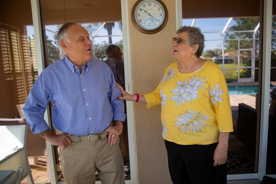 Bob and Diane Goldstein share a conversation, Monday, March 16, 2020, at their home in Bonita Springs.