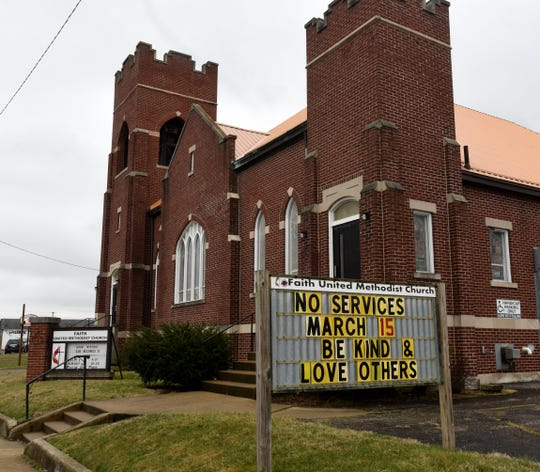 Faith United Methodist Church on East Main Street in Newark announces the end of Sunday services and reminds everyone to be kind and love others. Area churches have closed in light of the coronavirus health crisis.