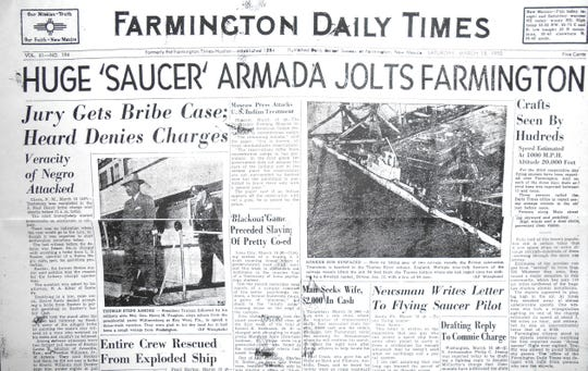 The front page of The Daily Times on March 18, 1950, chronicles the appearance of several strange objects in the sky above Farmington.