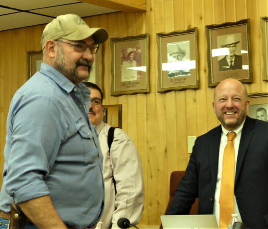 Jerry Parsons was promoted to solid waste manager in the Solid Waste Department March 2. Also pictured from left in back are Village Manager Tim Dodge and Village Attorney Zach Cook.