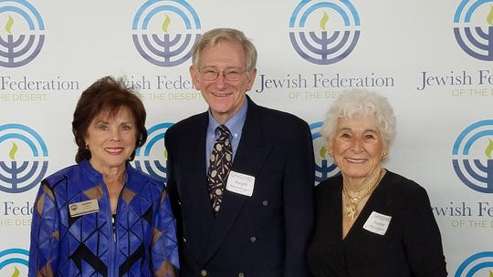 Ralph Nurnberger, keynote speaker at the Pearl Society women's philanthropy luncheon on March 9, 2020, is joined by event chairs Jackie Cohen and Joanne Hirschfield.