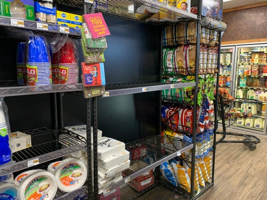 Empty shelves are visible at Village Market in Idyllwild on Monday, March 16, 2020 during the coronavirus pandemic. Its manager said people have come from outside the community looking for supplies and he was preparing to drive to San Fernando Valley to restock.
