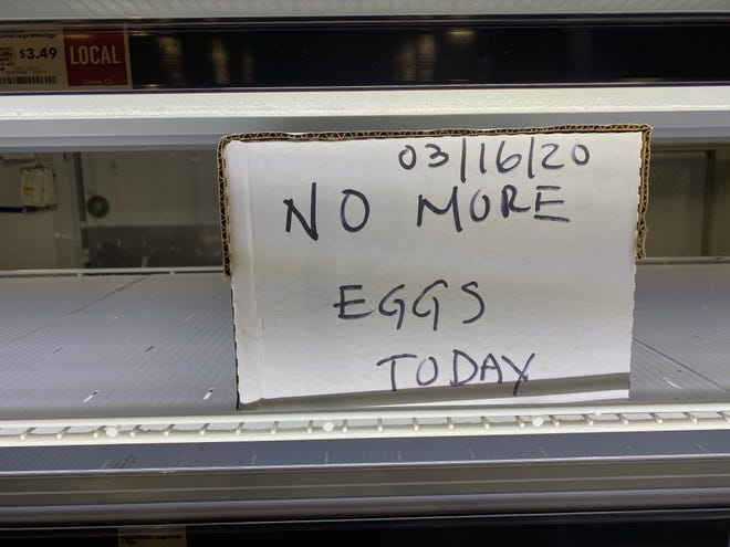 A sign tells customers the Whole Foods in Palm Desert, Calif. is sold out of eggs on Monday, March 16, 2020.