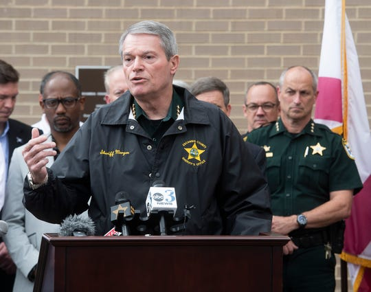 Escambia County Sheriff David Morgan speaks at a press conference Tuesday about what his agency is limit the spread of the coronavirus.