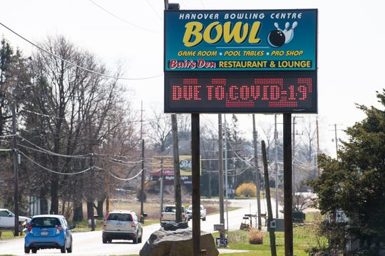 The electronic sign outside Hanover Bowling Centre alerts motorists that they are closed on Tuesday, March 17, 2020. All local bowling businesses, including South Hanover Lanes, are currently temporarily closed.