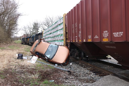 A woman is in critical condition Tuesday morning after colliding with a train in Oxford Township.