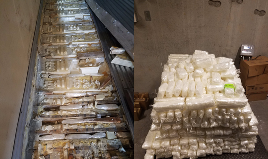 U.S. Customs and Border Protection said Arizona customs officers seized a record-breaking 690 pounds of methamphetamine hidden in a shipment of tomatoes and bell peppers coming through the Mariposa commercial border crossing in Nogales.