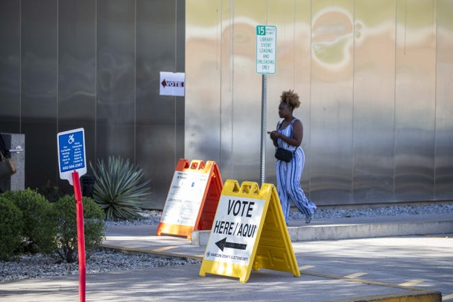 The voting place looks deserted due to coronavirus during the Democratic presidential primary election at the Burton Barr Library in Phoenix on March 17, 2020.