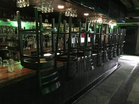 Mahoney's Irish Pub in Poughkeepsie is pictured without customers on St. Patrick's Day, March 17.