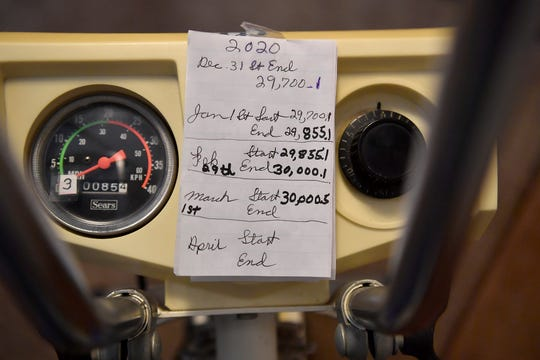 Ed Gleason, 75, of Dover Township, recently went over 30,000 miles on a stationary bike he purchased in 1971. Gleason rides five miles every morning on his bike. Pictured is one of his hand-written notes on his progress. Tuesday, March 17, 2020.  John A. Pavoncello photo