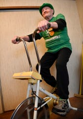 Ed Gleason, 75, of Dover Township, recently went over 30,000 miles on a stationary bike he purchased in 1971. Gleason rides five miles every morning on his bike. Tuesday, March 17, 2020.  John A. Pavoncello photo