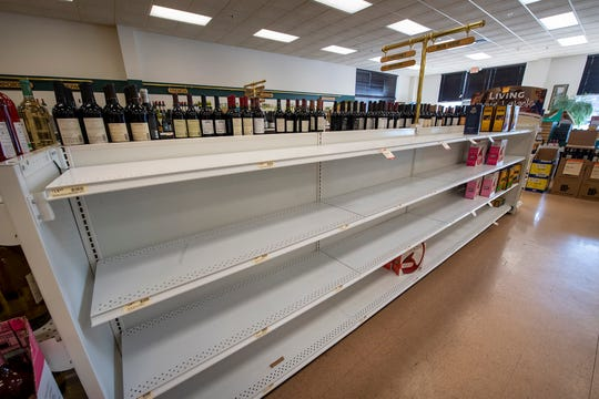 There was an empty shelf of box wine at the state-owned liquor store in Manchester Township before it closed on Tuesday.