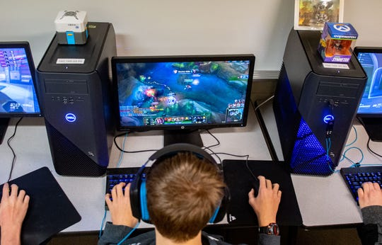 Players use gaming PCs during the York County School of Technology esports practice, February 19, 2020.
