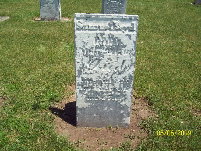 Revolutionary War veteran Samuel Boyd is buried in the old cemetery at Jacksonburg Christian church in Jacksonburg. The Boyd plot is located at the west end of the cemetery. This is the old marker.