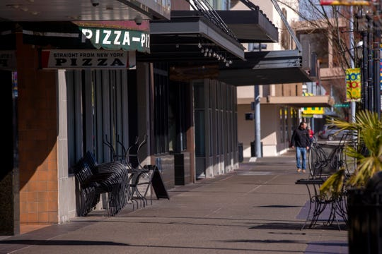 Restaurants are shut or only offering to-go services in downtown Salem on March 17, 2020.
