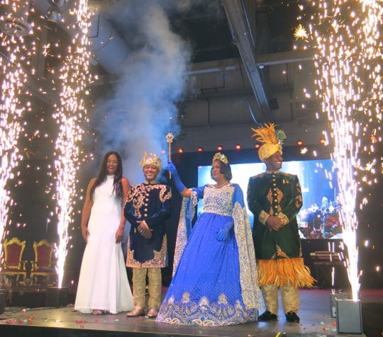 Krewe Harambee Royals for 2020 bow to their subjects at the end of Krewe Harambee Grand Bal 2020: Captain Dee Miles, King Jonathan Reynolds, Queen Regina Winn and Co-Captain   Roderick Casey.