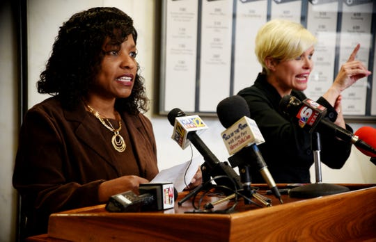 Erica Bryant speaks during the Monday afternoon press conference at Government Plaza.