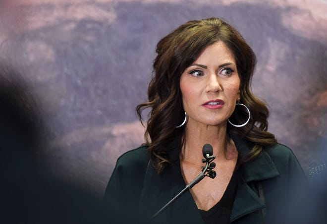 Gov. Kristi Noem gives an update on the coronavirus in South Dakota on Tuesday, March 17, 2020 at the Sanford Center in Sioux Falls.