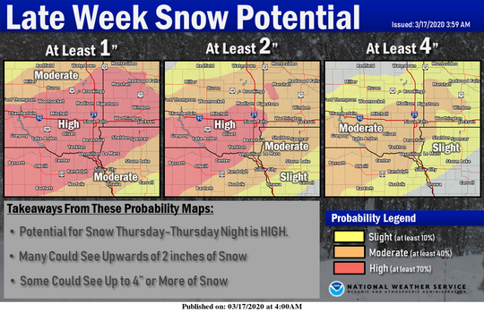 The National Weather Service in Sioux Falls is tracking the chances for potential snow Thursday through Thursday night, with the greatest potential for 4 inches of snow from southern South Dakota into southwest Minnesota.