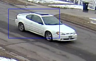 Police are searching for a white pontiac involved in an incident at Cleveland Elementary School on Monday.