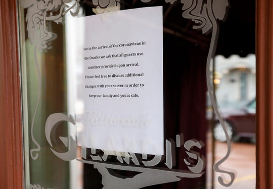 Before the ban on gatherings of 10 or more, Gilardi's restaurant was taking a number of precautions to help protect customers and employees from the COVID-19 virus, including asking all guests to use hand sanitizer when they walk in the door.