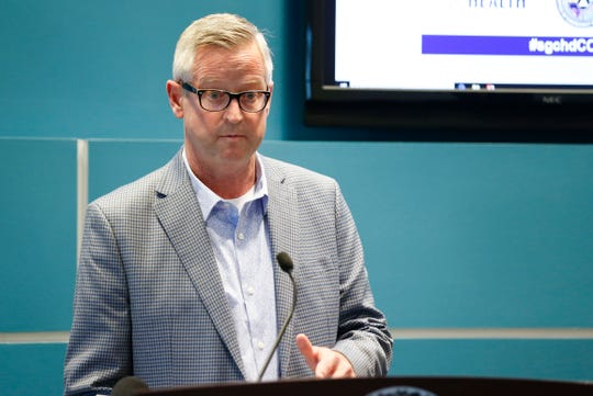 Springfield-Greene County Health Department Director Clay Goddard speaks about the regulations local officials put in place on public gatherings Tuesday, March 17, 2020 as a fourth case of coronavirus was reported in Greene County.