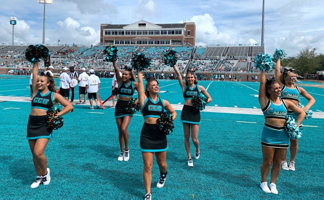 Makayla Hackett, far left, cheers for Coastal Carolina University. The Staunton native, along with her team, found out this week that the 2020 NCA & NDA Collegiate Cheer and Dance Championship has been canceled.