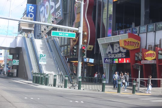 The intersection of MGM and Las Vegas Boulevard on St. Patrick's Day 2020 as hotels and casinos shut down due to the coronavirus.