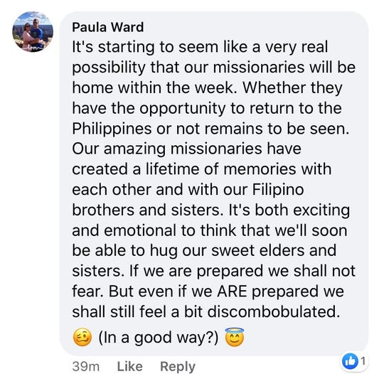 Family members of missionaries serving in the Philippines Cauayan mission commented online about changes the church is making due to coronavirus.